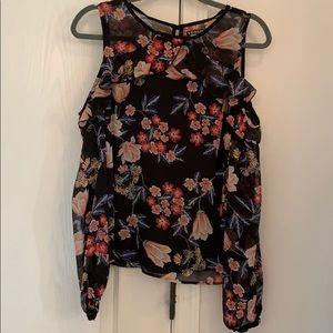 Venis black floral cold shoulder top